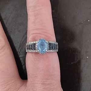 LeVian Topaz,Sapphire & Diamond ring
